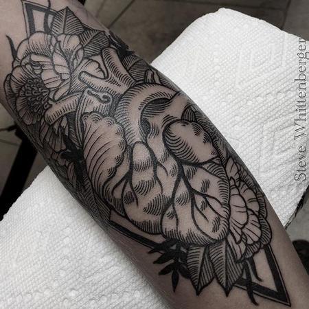Tattoos - Blackwork Heart and Flowers - 121777