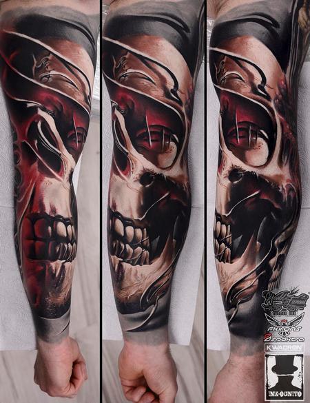 Tattoos - Skull Mask Color Arm Tattoo - 116181