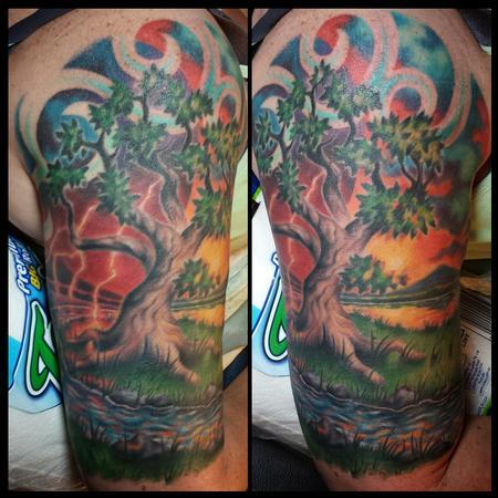 Tyler Andrews - Colorful tree half-sleeve