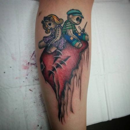 Tattoos - ragdolls on a heart calf piece - 113724