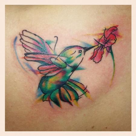 Tattoos - semi abstract hummingbird - 113733