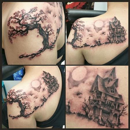 Tattoos - haunted house scenery - 113743