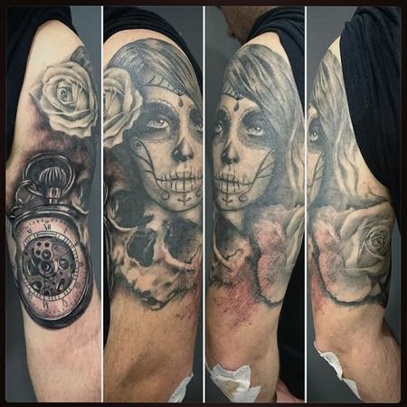 Tattoos - Black and Grey Realism Half Sleeve - 116386
