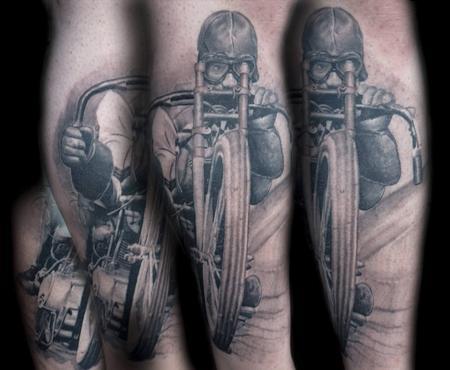 Whitney Seanor - Black and Gray Biker Tattoo