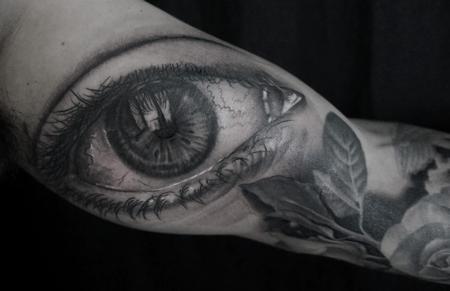 Tattoos - Black and Gray Eye Tattoo - 116065