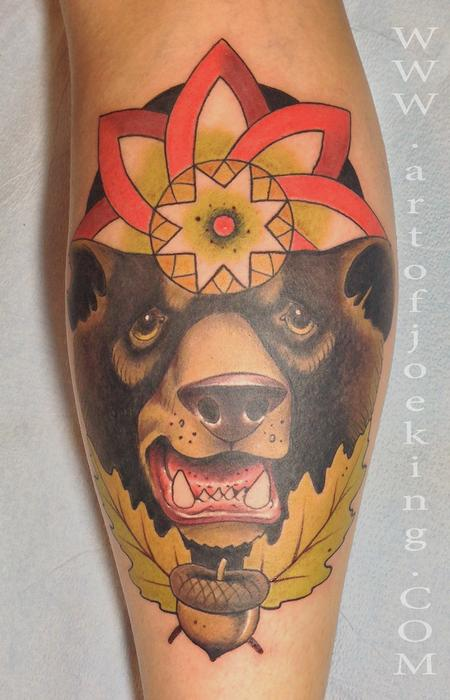 Tattoos - Black Bear Animal Totem with Mandala - 82424
