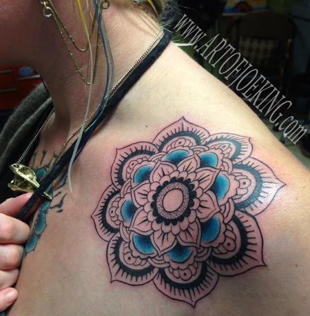 Tattoos - Flower Mandala with Turquoise  - 84197