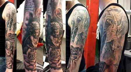 Tattoos - black and grey angel ernesto nave - 86820