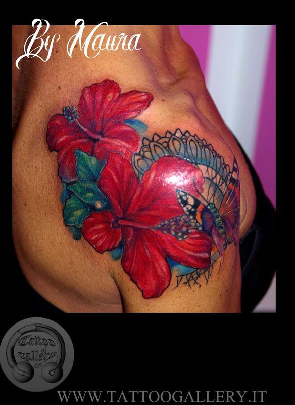 Fiori Con D.Tattoo Fiori D Hibiscus Con Farfalla Hibiscus Flowers And