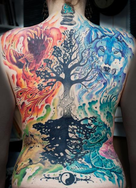 Tattoos - watercolor back piece of the elements - 108203