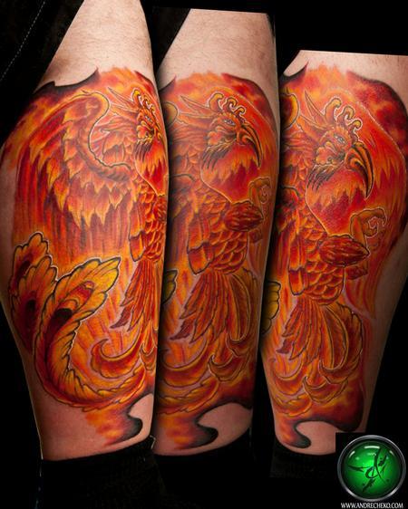 Andre Cheko - Phoenix Leg tattoo