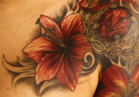 Andre Cheko - Tropical flower color tattoo