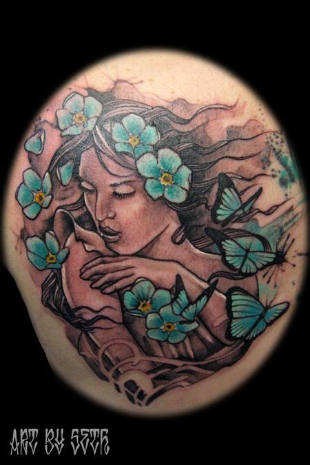 Tattoos - Art Nouveau Woman Butterflies - 114821
