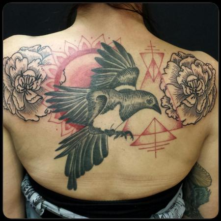 Tattoos - Magpie and peonies - 114814