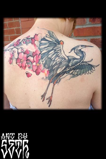 Tattoos - Illustrative Heron Cherry Blossoms - 114802