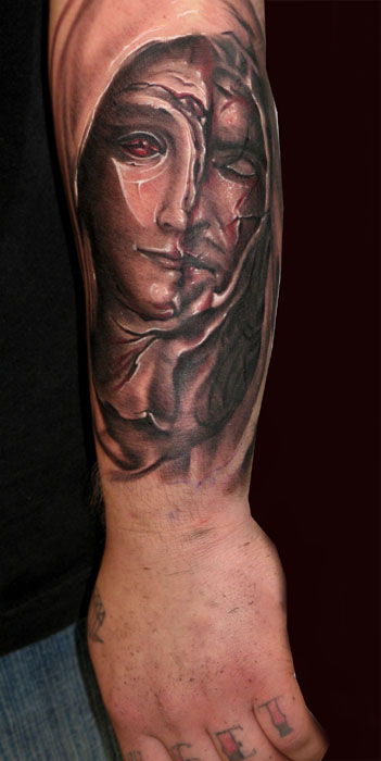 Tattoos - Black and grey half jesus half mary. - 27560