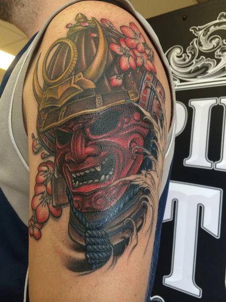 Tattoos - Japanese Samurai War Mask Tattoo - 101709