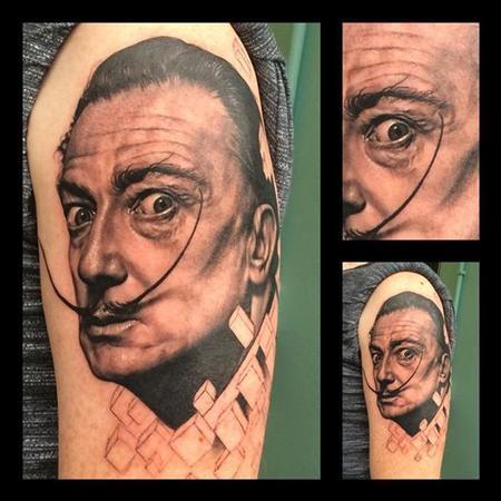 Tattoos - Black and Grey Salvador Dali portrait tattoo - 94383