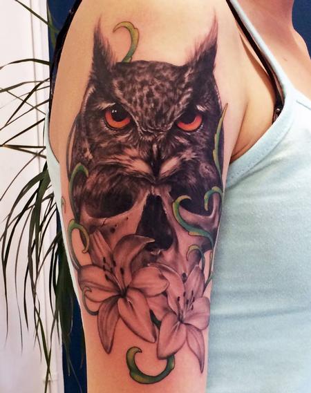 Tattoos - black and grey owl tattoo - 101705