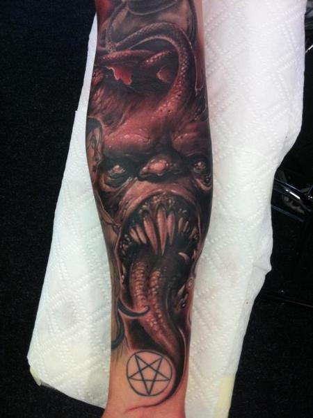 Tattoos - evil forearm half sleeve tattoo - 60059
