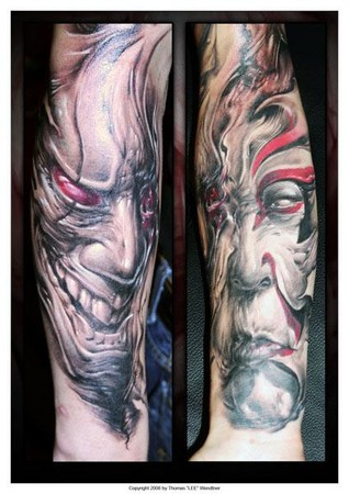 Tattoos - creepy faces - 35466