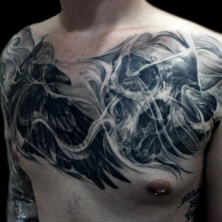 Tattoos - raven skull chest - 119059