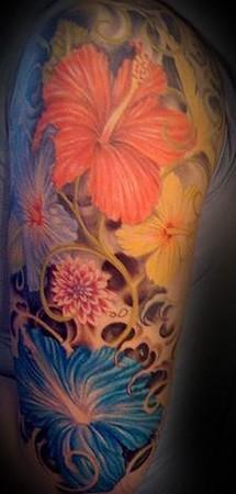 Tattoos - flower half sleeve tattoo - 46247