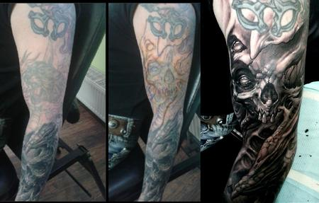 Tattoos - before & freehand on lasered arm - 128757