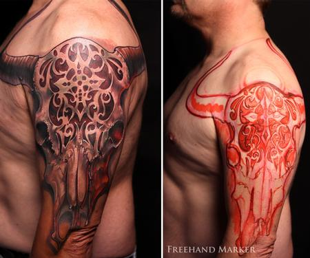 Tattoos - Cow Skull - 129781