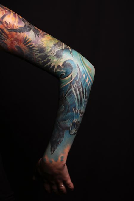 Tattoos - Drowned Raven and Lighthouse Surrealism Sleeve - 129502