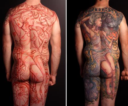 Tattoos - Freehand Nouveau Cycling Backpiece - 123085