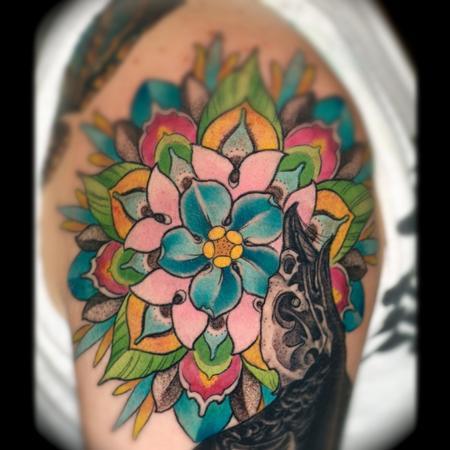 Tattoos - bird skull and flower mandala - 65392