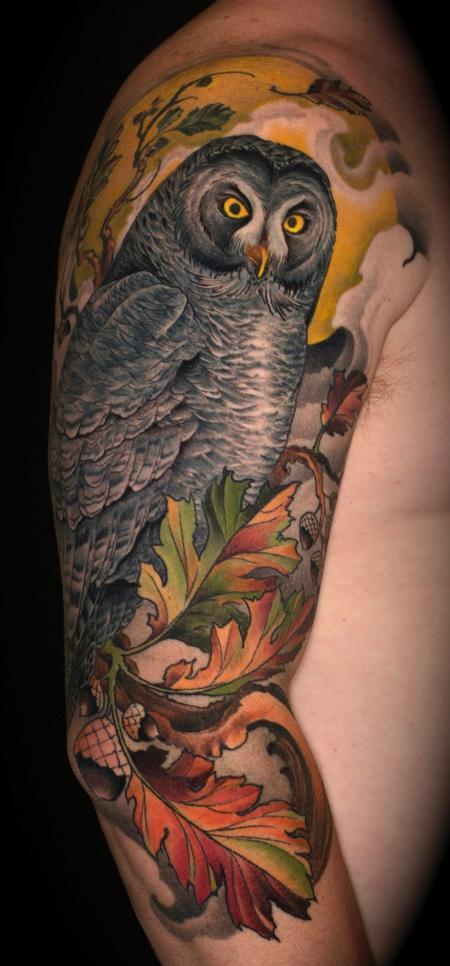 Tattoos - great grey owl and oak - 65396