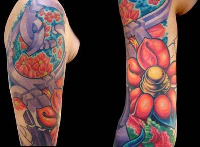 Tattoos - Geometric Shapes and Flowers Sleeve - 14474
