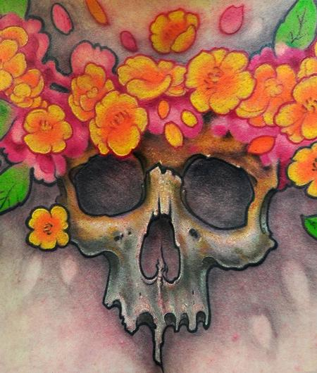 Tattoos - Skull and flowers chest tattoo detail - 58645