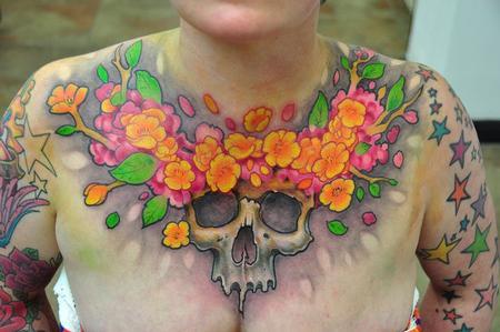 Tattoos - Skull and flowers chest tattoo - 58646