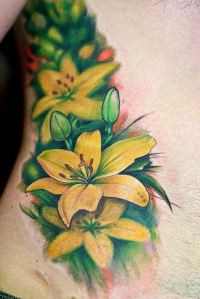Image result for yellow lily tattoo