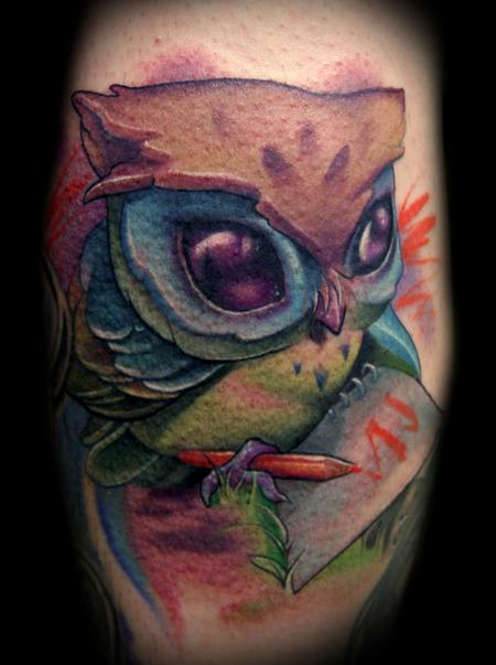 Kelly Doty - Colored Pencil Owl tattoo