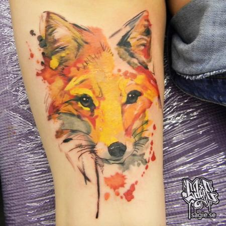 Tattoos - Water color fox - 116552