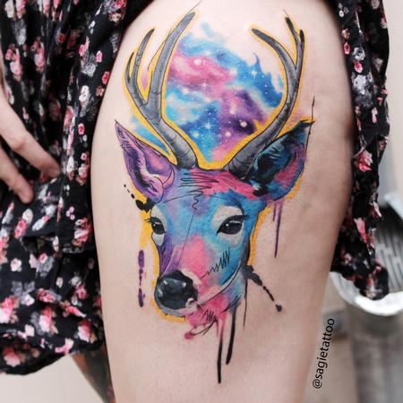 Tattoos - Water color deer - 116597