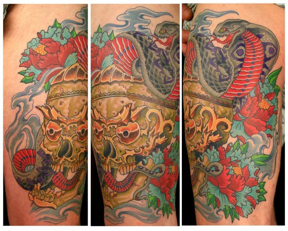 Tattoos - tibetian skull and cobra thigh piece - 52889