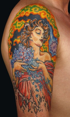 Tattoos - Alfons Mucha  inspired half sleeve - 46580