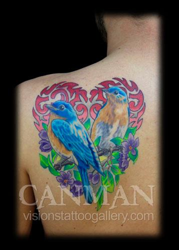 Tattoos - Birds perched on branch of flowers - 70775