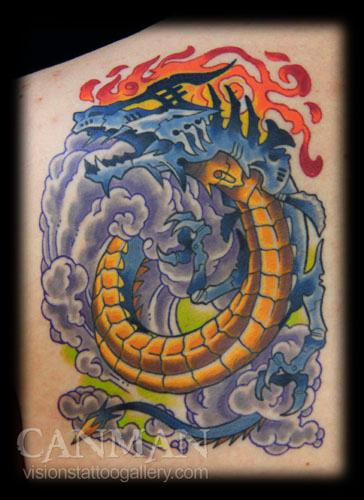 Tattoos - mechanical dragon - 70402