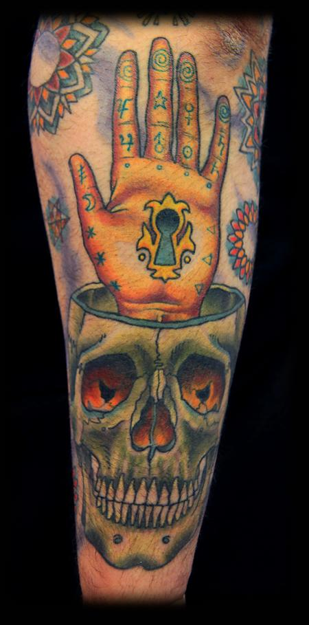 Tattoos - Esoteric Hand and skull - 76637