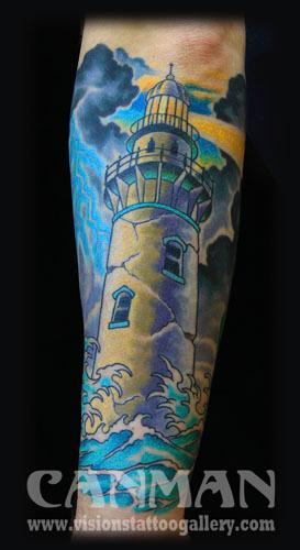 Tattoos - lighthouse tattoo - 71809
