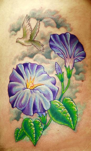 Tattoos - Morning glory's done on ribs - 54155