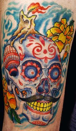 Tattoos - sugar skull thigh piece - 48341