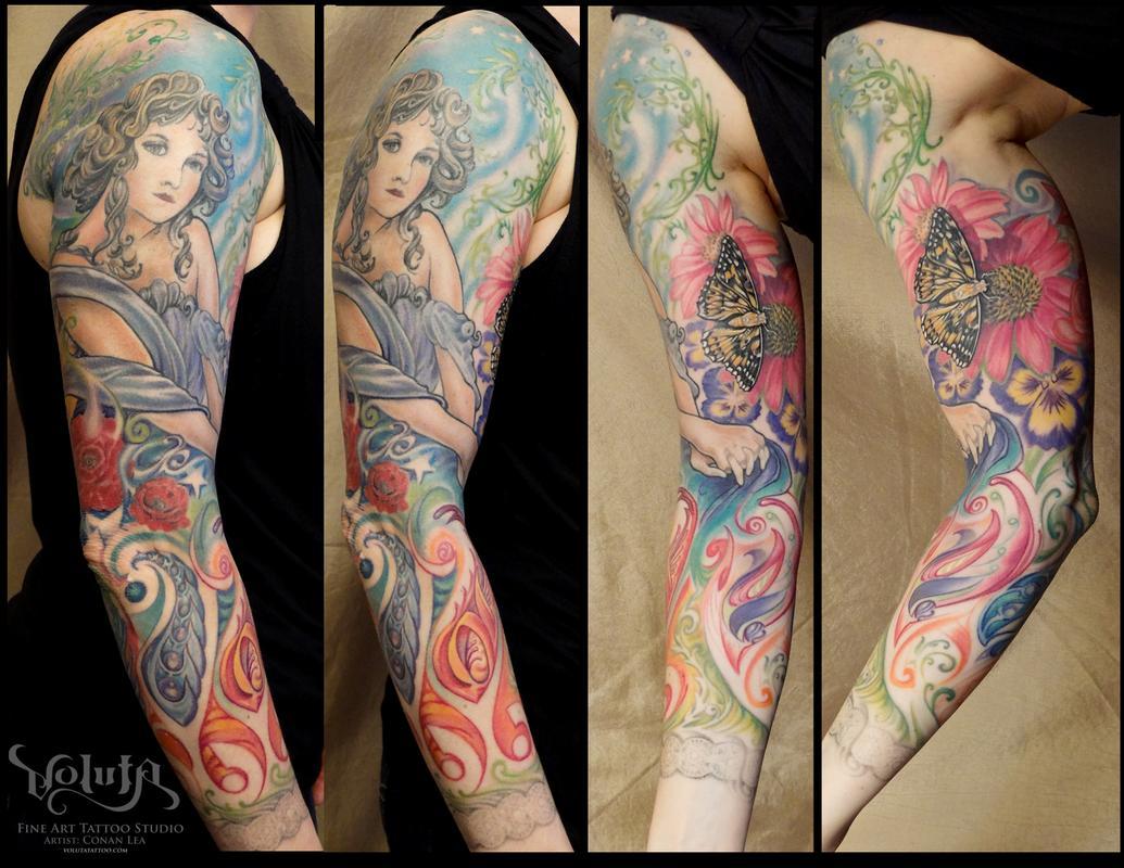 Art Nouveau Garden Beauty Tattoo by Conan Lea TattooNOW