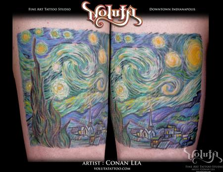 Tattoos - Van Gogh Starry Night Reproduction Tattoo - 75874